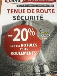 PROMOTION SUR LA TENUE DE ROUTE, LES ROTULES ET LES ROULEMENTS -20%